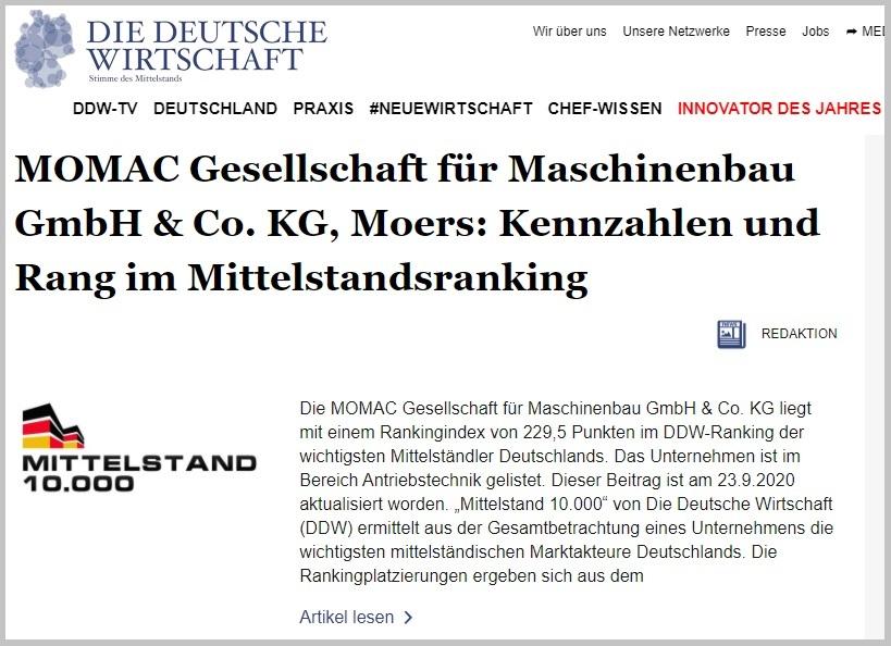 momac ist Exzellenzbetrieb im DDW Ranking Mittelstand 10.000