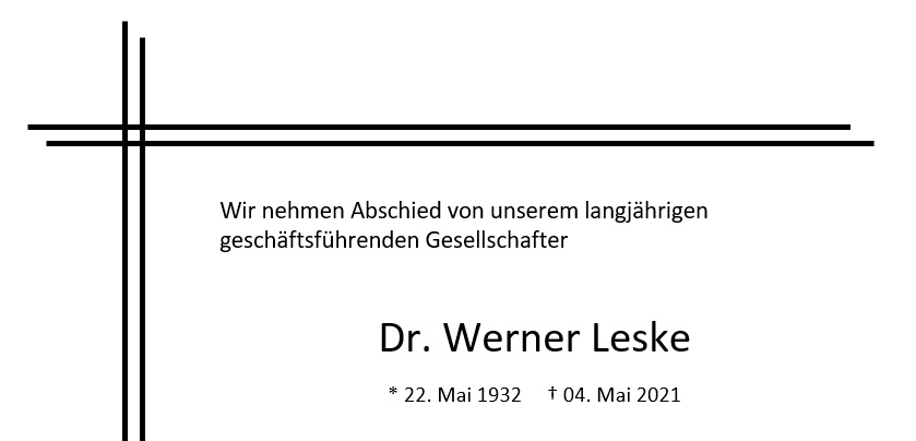 Nachruf Dr. Werner Leske
